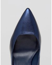 Dune Blue Pointed Toe High Heel Court Shoe