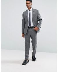 Reiss - Black Slim Suit Pants In Salt N Pepper for Men - Lyst