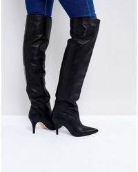 ASOS Black Klara Leather Slouch Over The Knee Boots