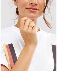 ASOS - Metallic Gold Plated Sterling Silver Fine Twist Ring - Lyst