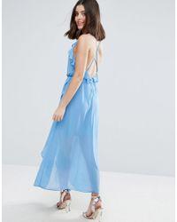 True Decadence - Blue Wrap Cami Dress With Ruffles - Lyst