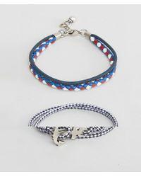 ASOS | Blue Nautical Bracelet Set In Navy | Lyst