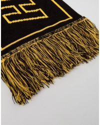 ASOS Black Reversible Football Scarf With Reckless Youth Slogan for men