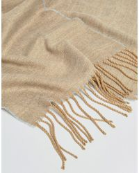 ASOS - Natural Woven Scarf In Camel And Grey for Men - Lyst