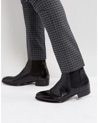 H by Hudson Black Watts Leather Chelsea Boots for men