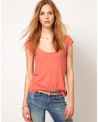 James Perse Red Cap Sleeve Casual Tee