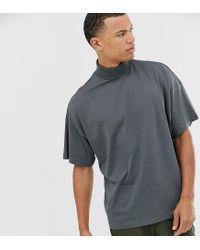 Camiseta extragrande con cuello vuelto en negro desgastado ASOS de hombre de color Multicolor