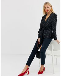 Y.A.S Black Textured Spot Top With Waist Tie