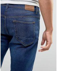 Pull&Bear Blue Slim Jeans In Dark Wash for men