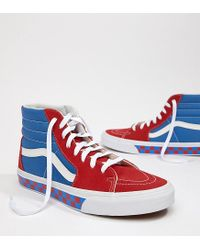 d3a4175d8a Vans Factory Pack Sk8-hi Checkerboard Trainers In Blue in Blue for ...