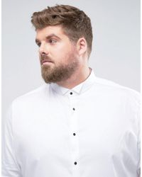 ASOS - White Plus Slim Sateen Shirt With Wing Collar And Contrast Buttons for Men - Lyst
