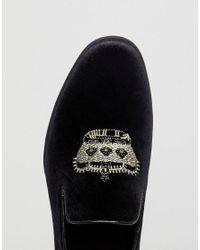 ASOS - Design Vegan Friendly Loafers In Black Velvet With Crown Embroidery for Men - Lyst