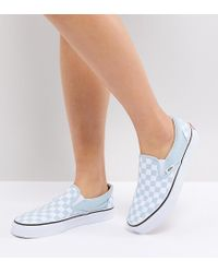 58a09b6849 Vans Slip On Trainers In Pastel Blue Checkerboard in Blue - Lyst
