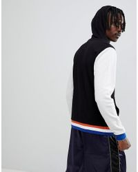 ASOS - Design Hoodie With Contrast Sleeves And Tipping In Black And Grey for Men - Lyst