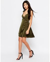 Wyldr Green Spoken Thoughts Wrap Dress With Frill Straps