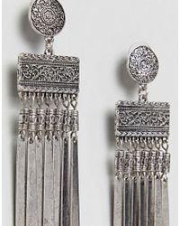 ASOS - Metallic Engraved Disc And Bar Chain Tassel Earrings - Lyst
