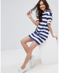 ASOS Blue Ultimate T-shirt Dress With Rolled Sleeves In Stripe