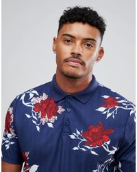 ASOS Blue Asos Relaxed Polo Shirt With All Over Floral Print In Pique for men