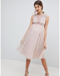 ASOS Pink Lace Tulle Cap Sleeve Midi Dress