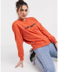 Carhartt - Felpa arancione mattone e nero di Carhartt WIP in Orange