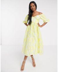 Желтое Платье Миди С Цветочным Узором И Объемными Рукавами ASOS, цвет: Yellow