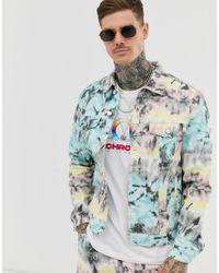 Bershka Multicolor Tye Dye Co-ord Denim Jacket for men