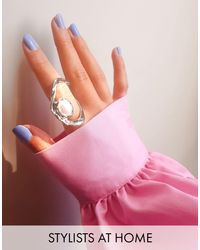 TOPSHOP Metallic Abstract Cut Out Ring With Pearl