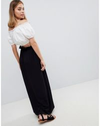 ASOS - Black Jupe longue taille fronce - Lyst