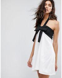 Club L Black Bow Front Smock Detail Dress
