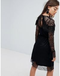 Warehouse - Black All Over Lace Skater Midi Dress - Lyst