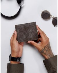ASOS Leather Wallet In Black With Distressed Finish for men
