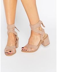 Truffle Collection Natural Truffle Tie Ankle Mid Heel Sandals