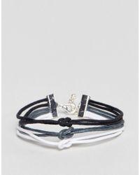 ASOS - Multicolor Triple Bracelet In Black Gray And White for Men - Lyst