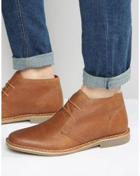 Red Tape Brown Desert Boots In Tan Leather for men