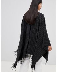 French Connection - Gray Pinstripe Knit Poncho - Lyst