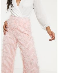 Missguided Pink – Feather Look – Hose mit weiten Beinen