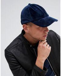 ASOS Blue Baseball Cap In Navy Velour for men
