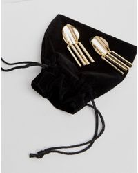 ASOS - Metallic Gold Plated Disc And Stick Drop Earrings - Lyst