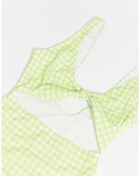 Зеленый Слитный Купальник Из Переработанного Полиэстера В Клеточку Monki, цвет: Green