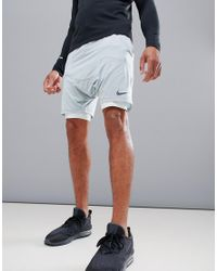 Nike Gray 'run Division' Distance Drop Crotch Shorts In Green 892893-019 for men