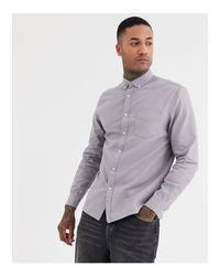 Camicia a maniche lunghe grigia di Topman in Gray da Uomo