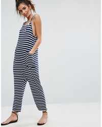 ASOS Blue Jersey Minimal Jumpsuit With Ties In Stripe
