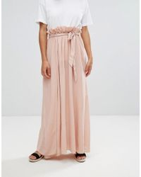ASOS - Pink Maxi Skirt With Belt And Thigh Split - Lyst