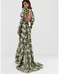 Robe longue brodée à ourlet sirène ASOS en coloris Green