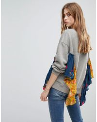 Free People Gray She's Just Cute Floral Trim Sweater