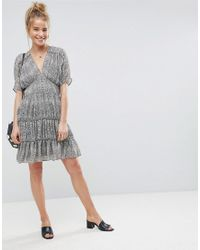 ASOS - Gray Animal Soft Mini Dress With Tiers - Lyst