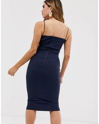 Темно-синее Платье-футляр Миди С Квадратным Вырезом -темно-синий Vesper, цвет: Blue