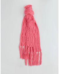Écharpe en maille avec franges Vero Moda en coloris Pink