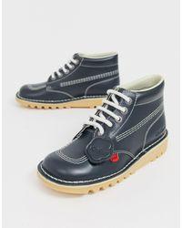Kickers Kick Hi Core Navy Blue Leather Hi Top Flat Boots