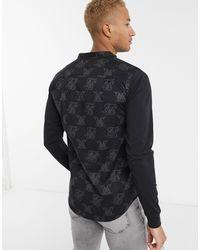 Siksilk – Vollständig mit Logos bedrucktes Muskelshirt mit Jersey-Ärmeln in Black für Herren